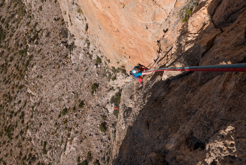 Becky on the steep first pitch