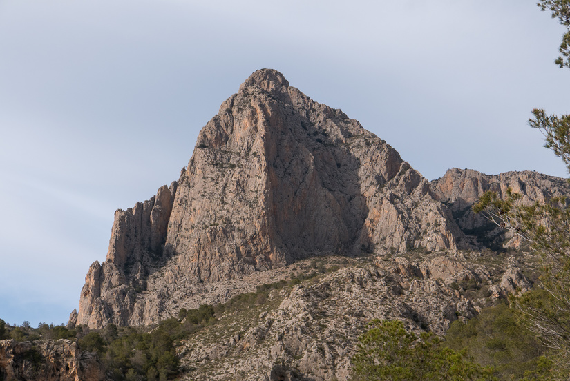 Looking back up to Puig Campana in the evening