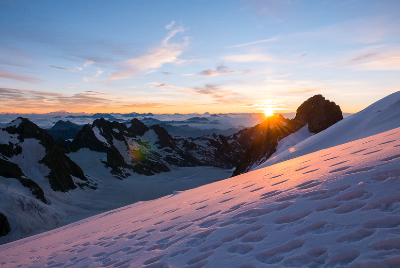 Sunrise above the Glacier Blanc
