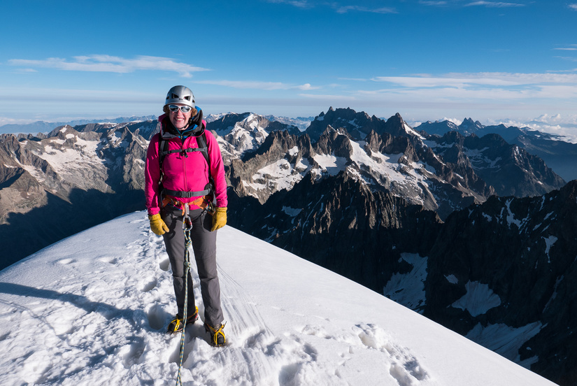Becky on the summit of the Dôme de Neige des Ecrins