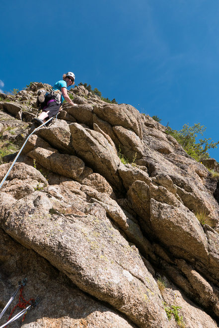 Becky leading up the arete