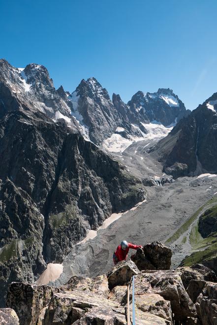 Becky scrambling on the summit ridge