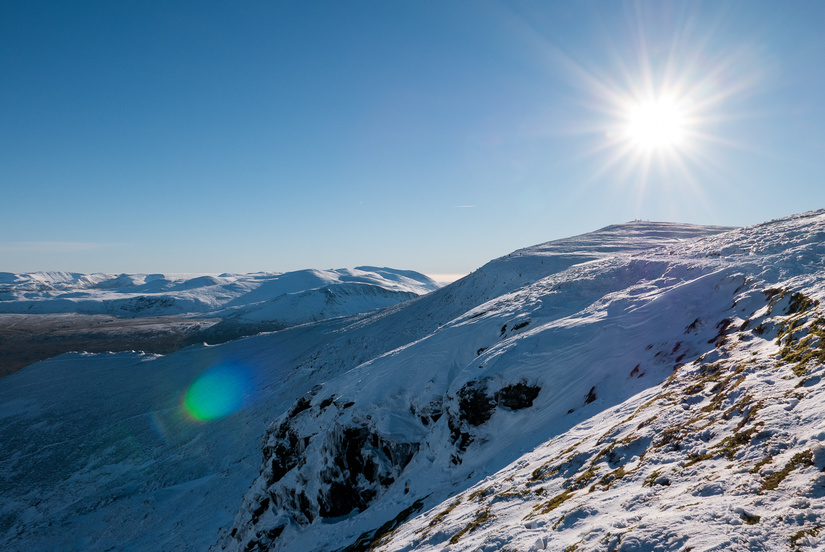 Looking up towards the summit of Blencathra