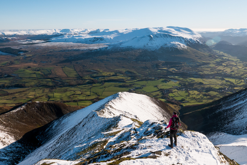 Becky descending Hall's Fell ridge