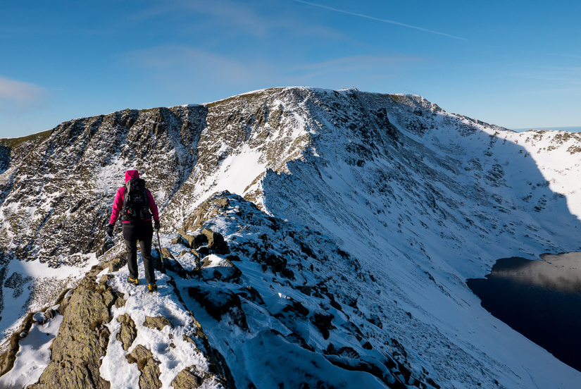 Becky on Striding Edge
